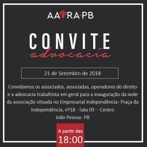 AATRAPB convida para inauguração da nova sede | Juristas