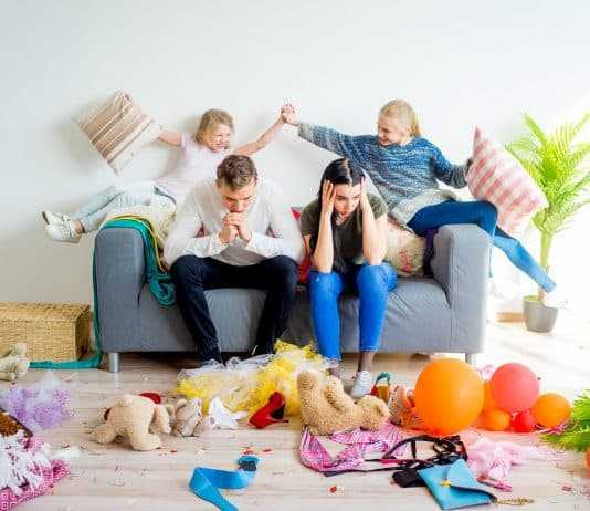 Kids romping at home