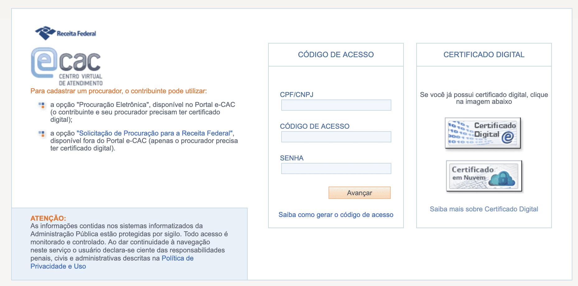 Portal E-CAC da Receita Federal do Brasil