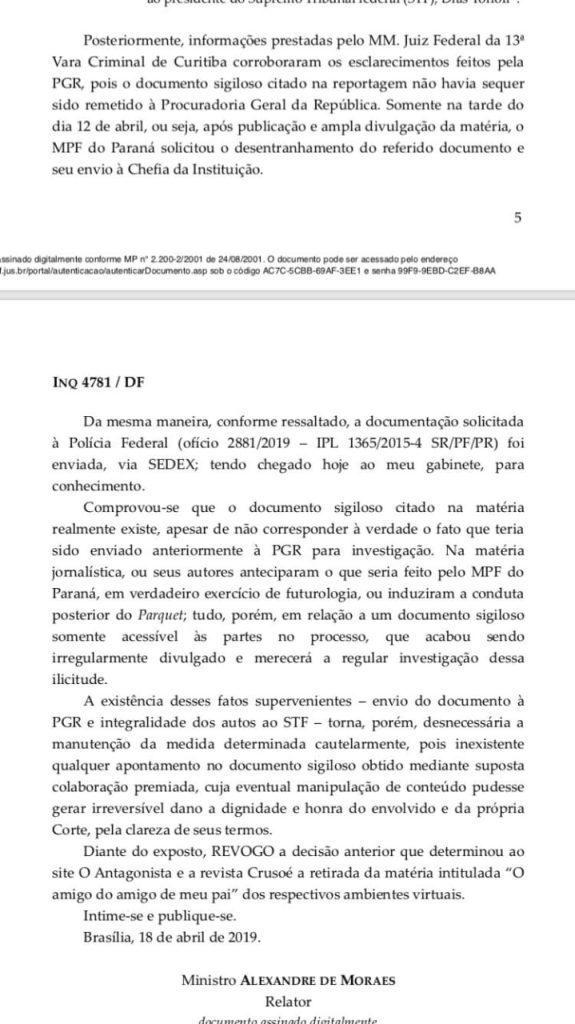 Após envio de documento citado pela CrusoÉ, Moraes revoga censura | Juristas