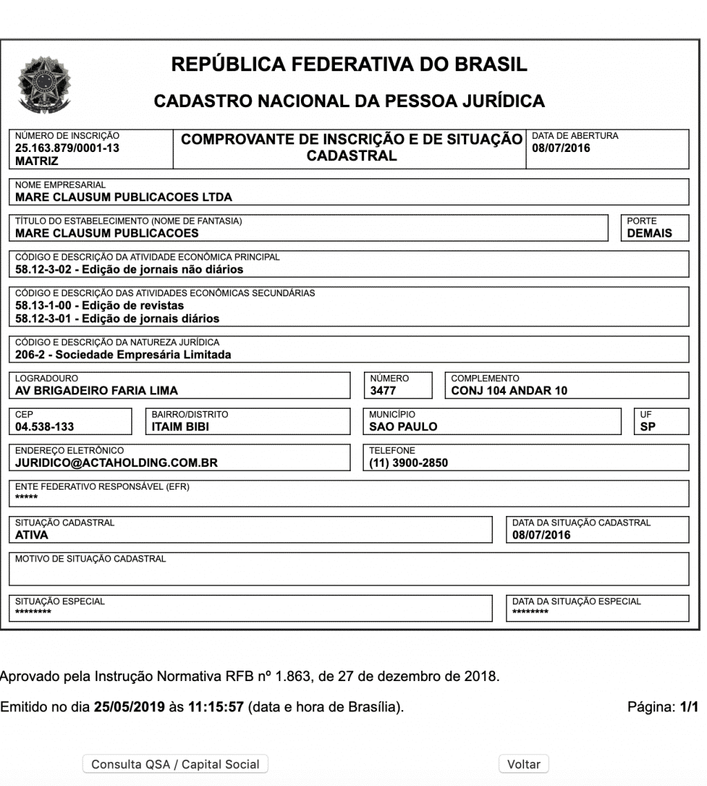 CNPJ do site OAntagonista.com