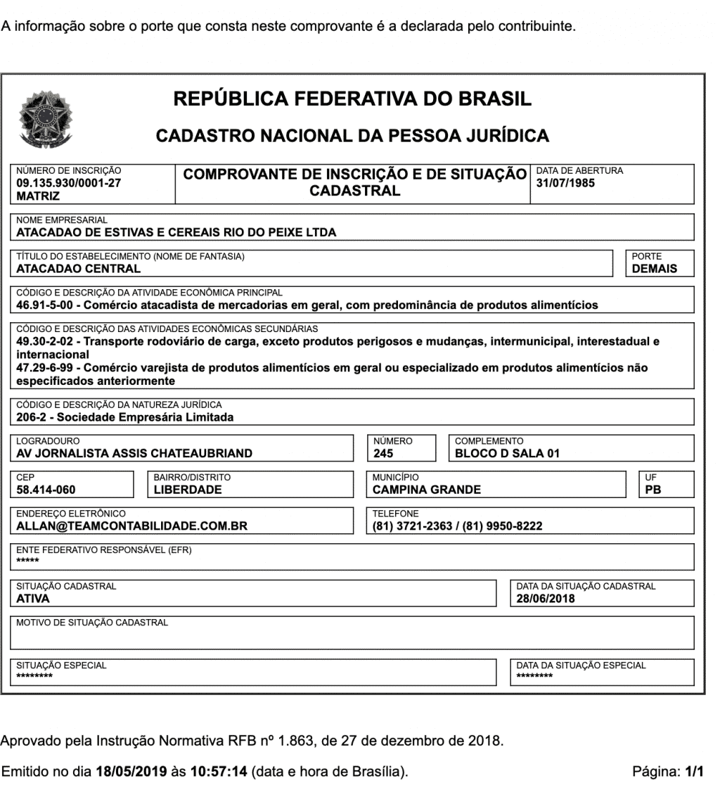 CNPJ do Atacadão Rio do Peixe - 09.135.930/0001-27