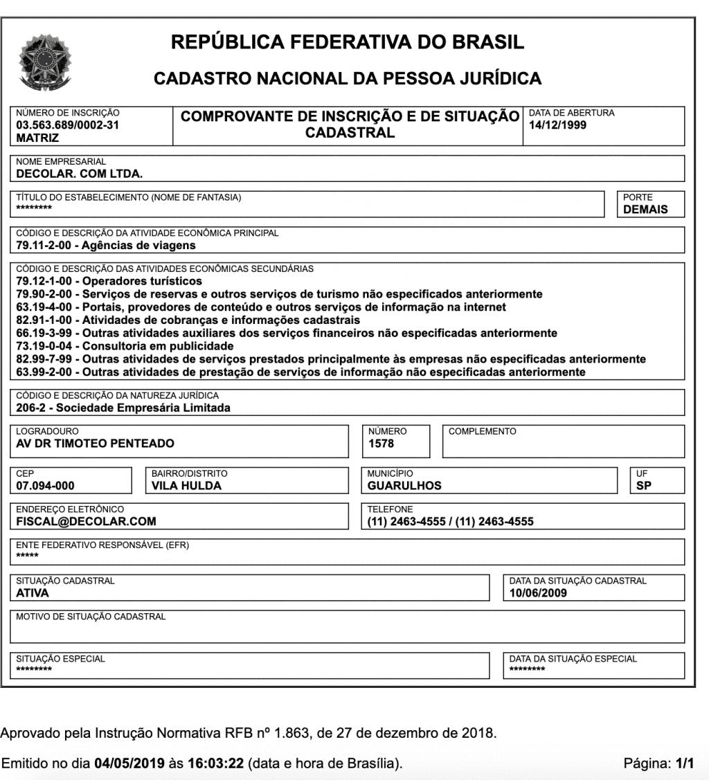 CNPJ - Decolar.com Ltda - Despegar.com