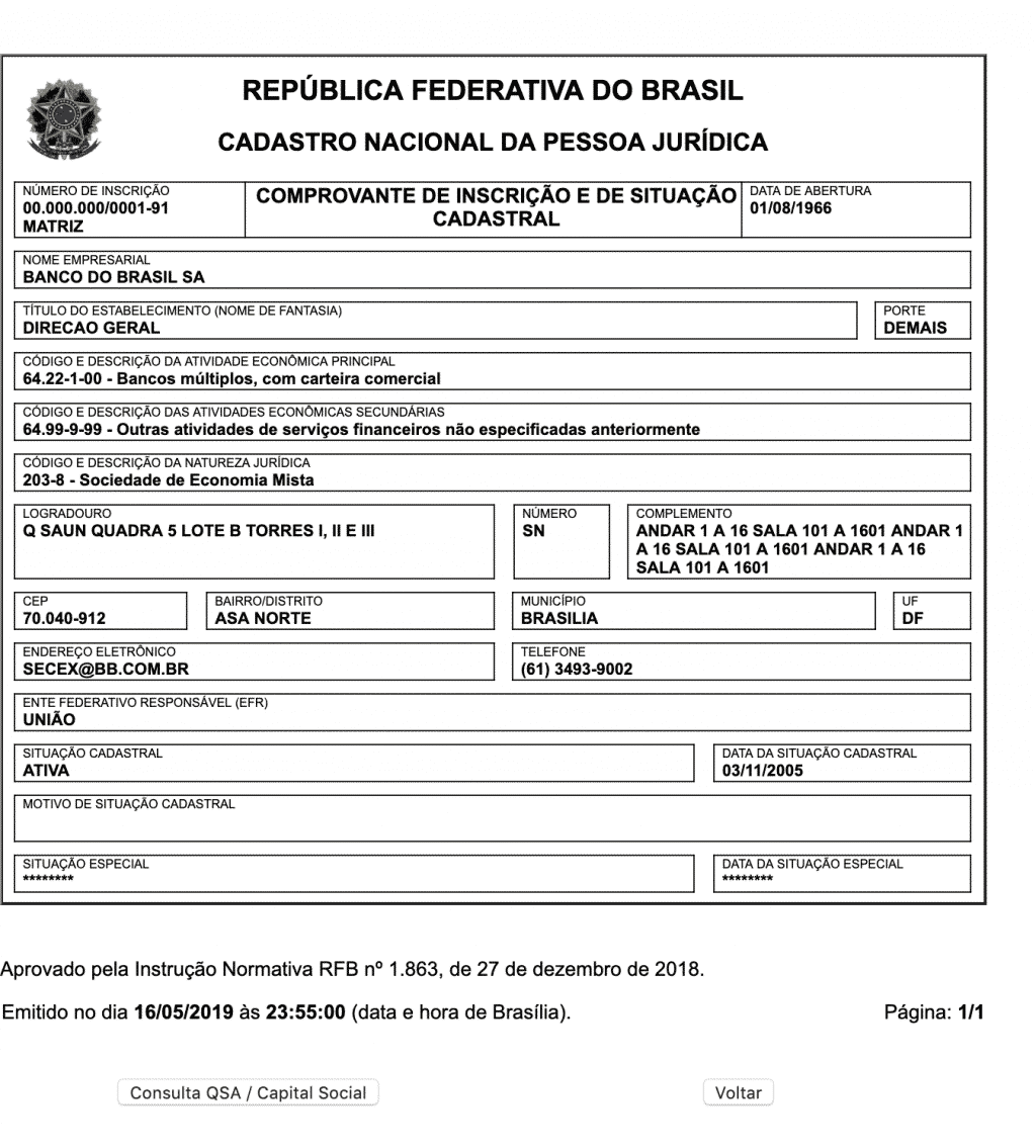 CNPJ do Banco do Brasil