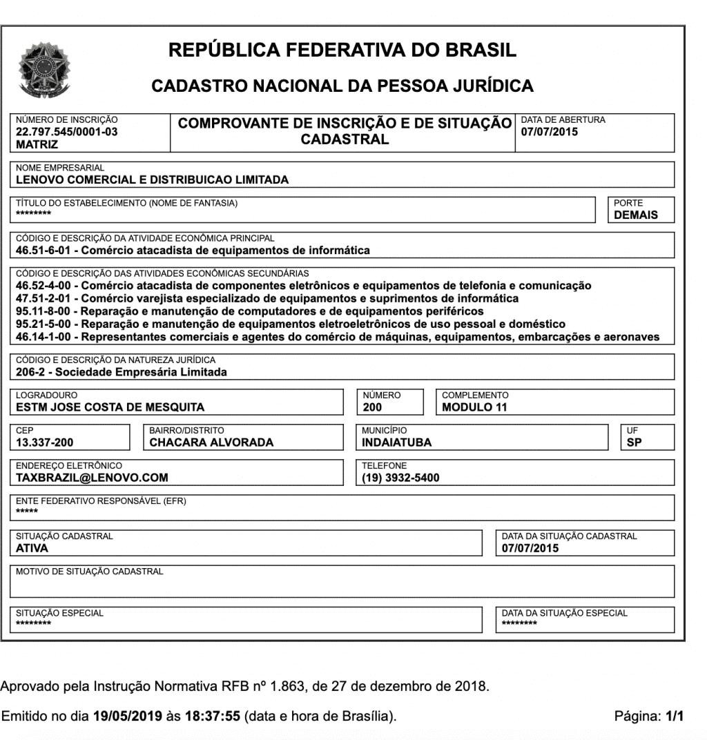 CNPJ da Lenovo Brasil