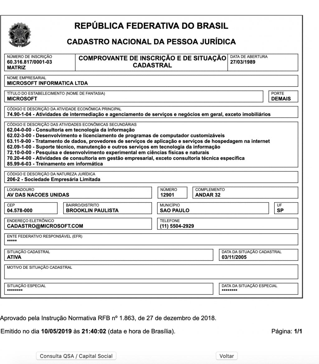 CNPJ da Microsoft Informática Ltda