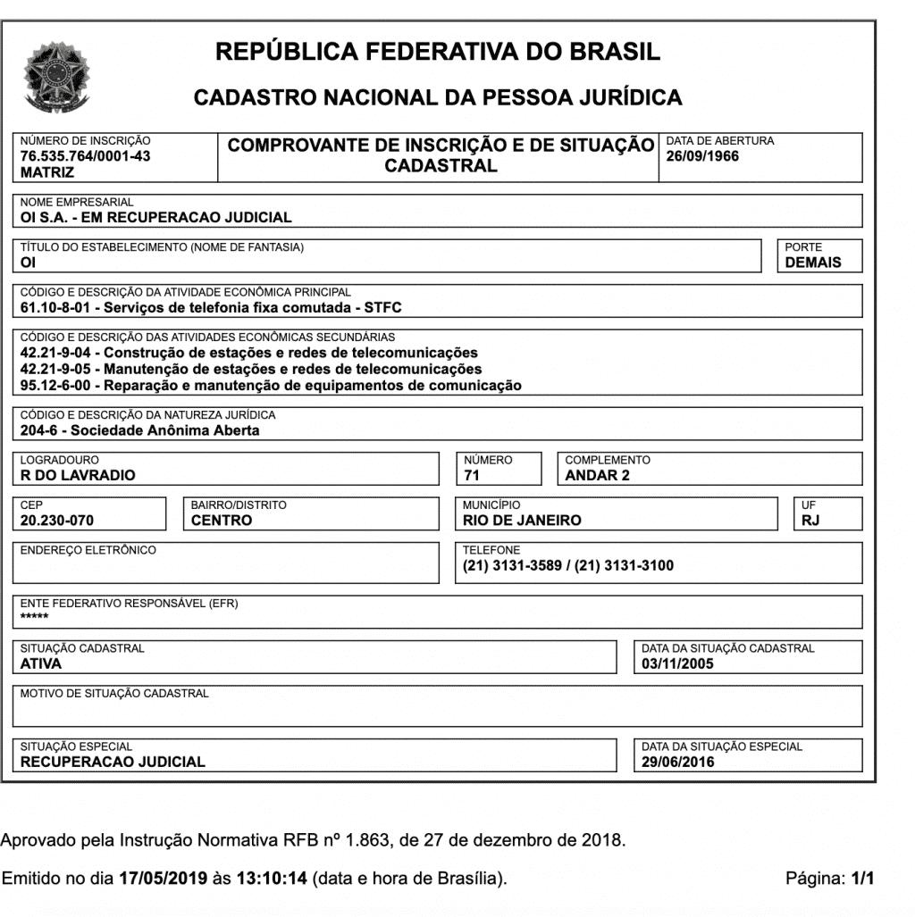 CNPJ da empresa OI S/A - Em Recuperação Judicial