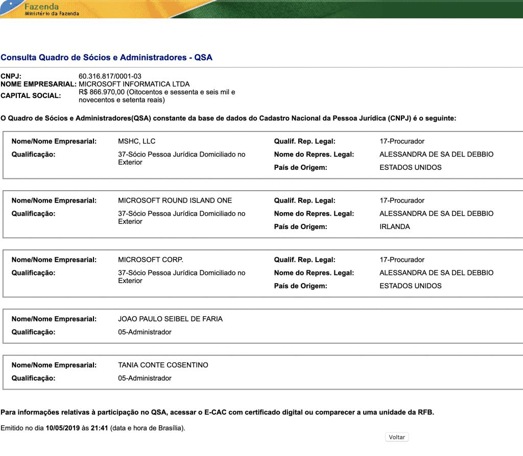 QSA - Microsoft Informática Ltda - CNPJ