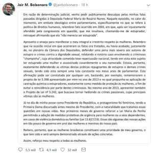 Sob ordem judicial, Bolsonaro se retrata com pedido de desculpas a Maria Rosário | Juristas