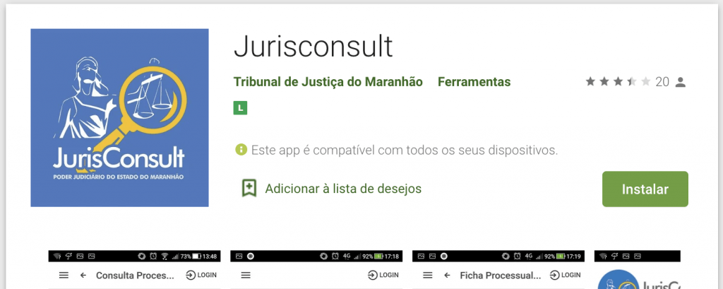 Aplicativo Jurisconsult do TJMA - Android