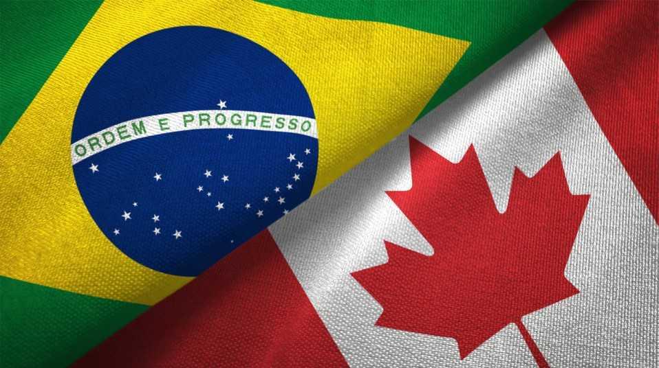Bandeiras do Brasil e do Canadá