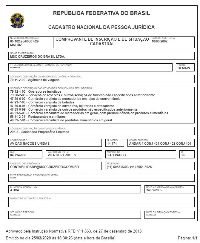 MSC Cruzeiros CNPJ
