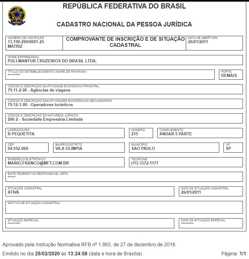 CNPJ da empresa Pullmantur Cruzeiros