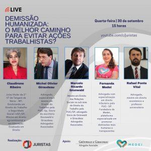 Portal Juristas promove webinar sobre Demissão humanizada | Juristas