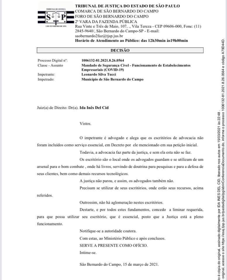 Escritório de Advocacia - Abertura - Pandemia Covid-19