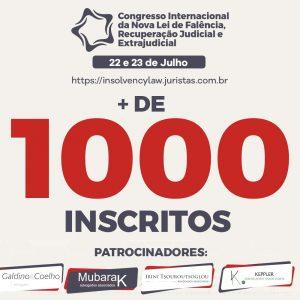 Congresso Internacional da Nova Lei de Falência, Recuperação Judicial e Extrajudicial, já conta com mais de mil inscrições   Juristas